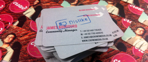 James' misspelled business cards