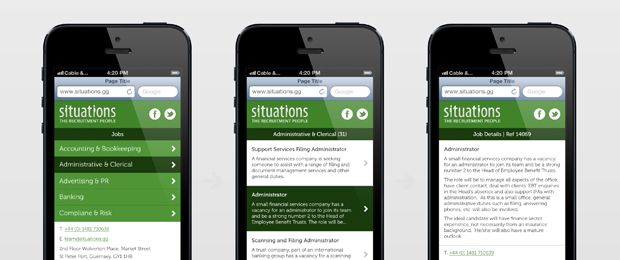 Situations Recruitment Mobile Website