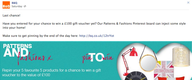 B&Q Pin It To Win Facebook